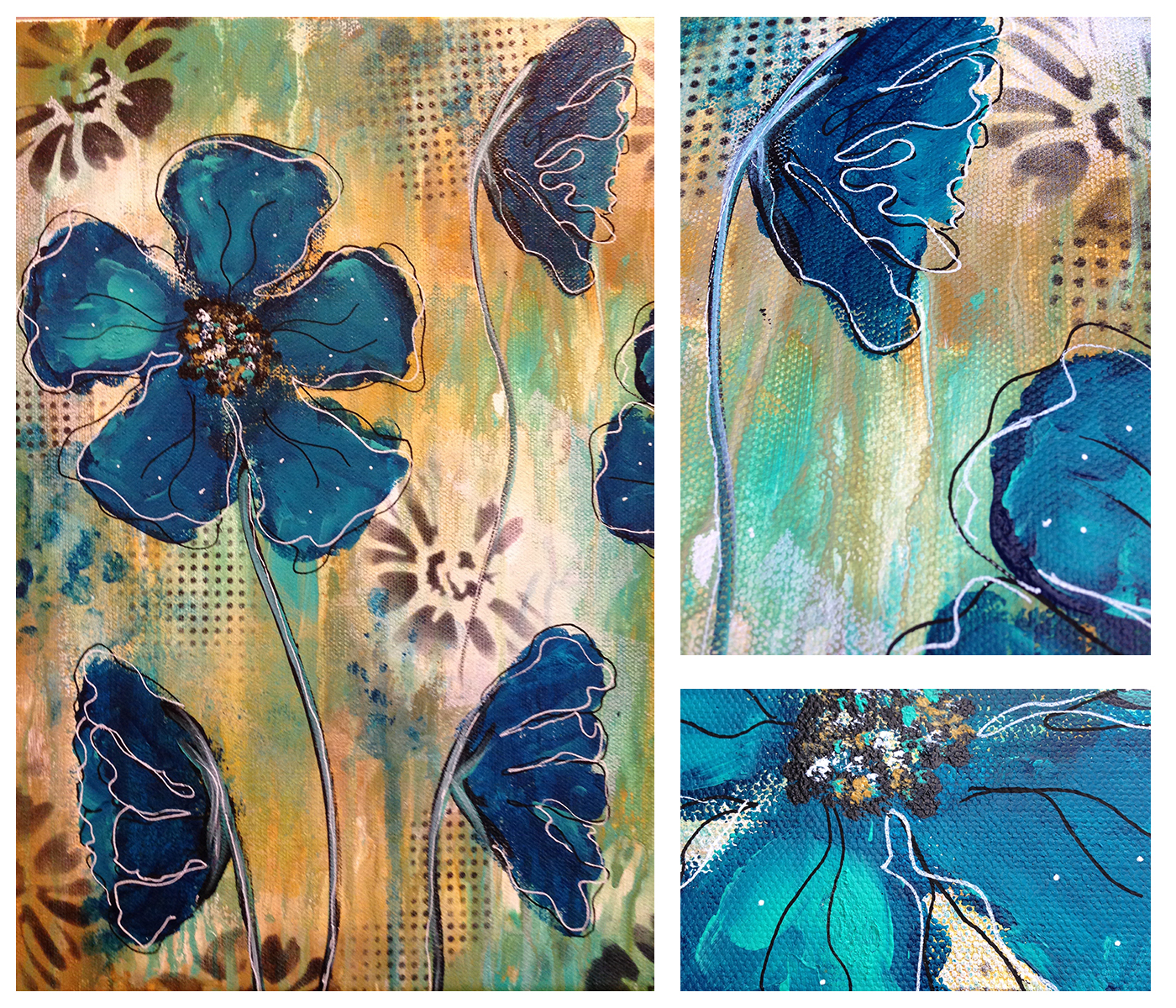 Flowers flowers everywhere kara bullock art blueflowers1 izmirmasajfo